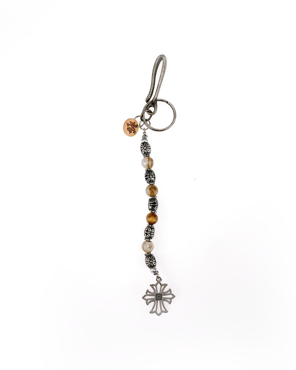 portachiavi accessori in metallo finitura argento antico, pietra agata dura.