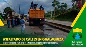 Asfalto en las calles de la ciudad de Gualaquiza