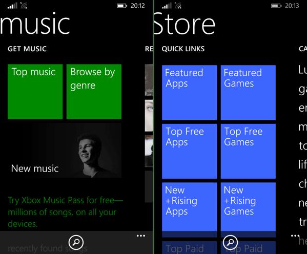 Tiles in apps