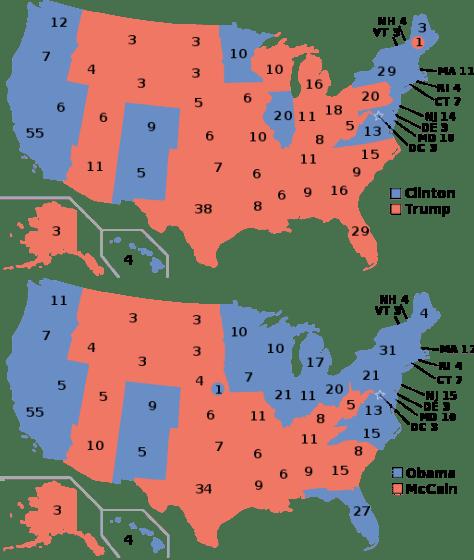 Electoral College 2008 vs 2016.
