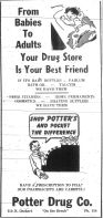 Idaho State Historical Society - Ad Potter Drug Boise Journal February 1, 1951