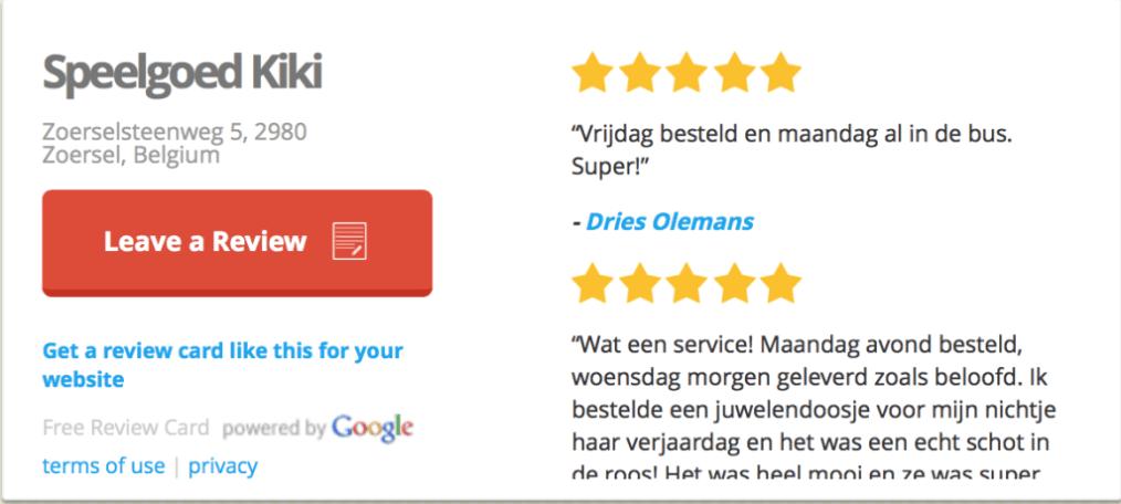 GooglePLus reviews tonen op website
