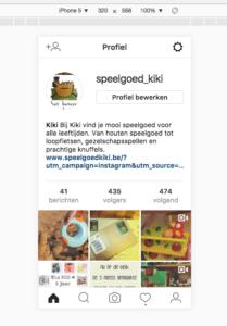 Weergave Instagram op computer