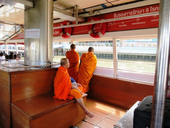 Monks on the Chao Praya River, Bangkok