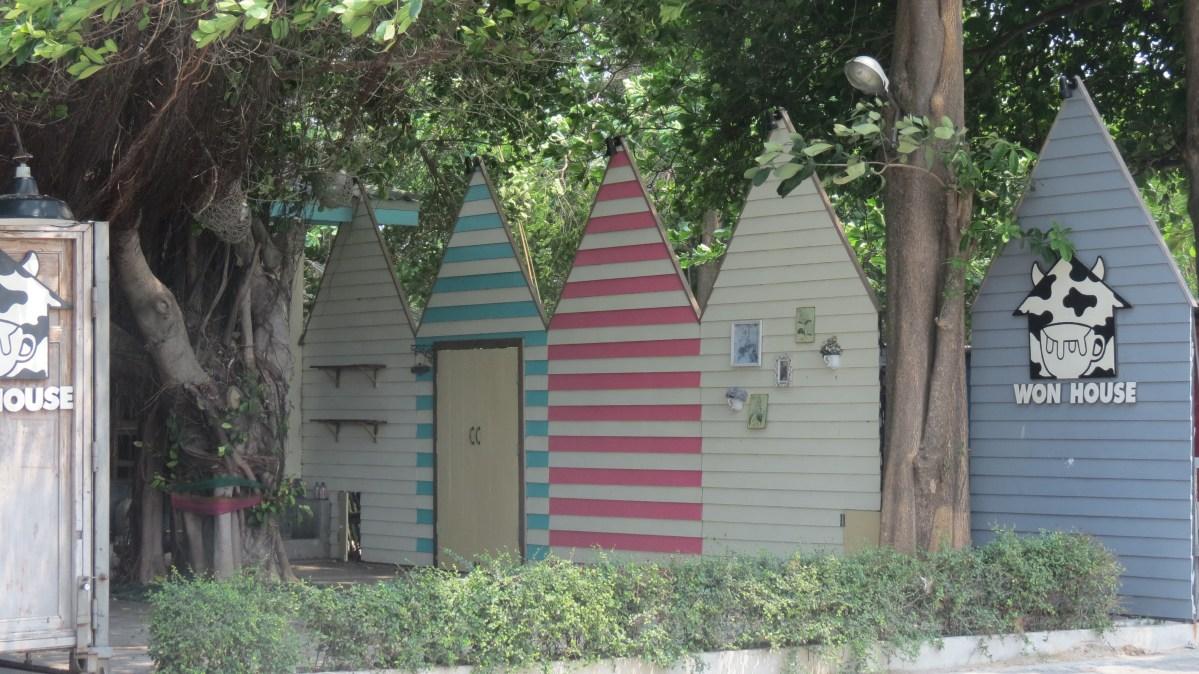 House facades in Bangsaen, Thailand