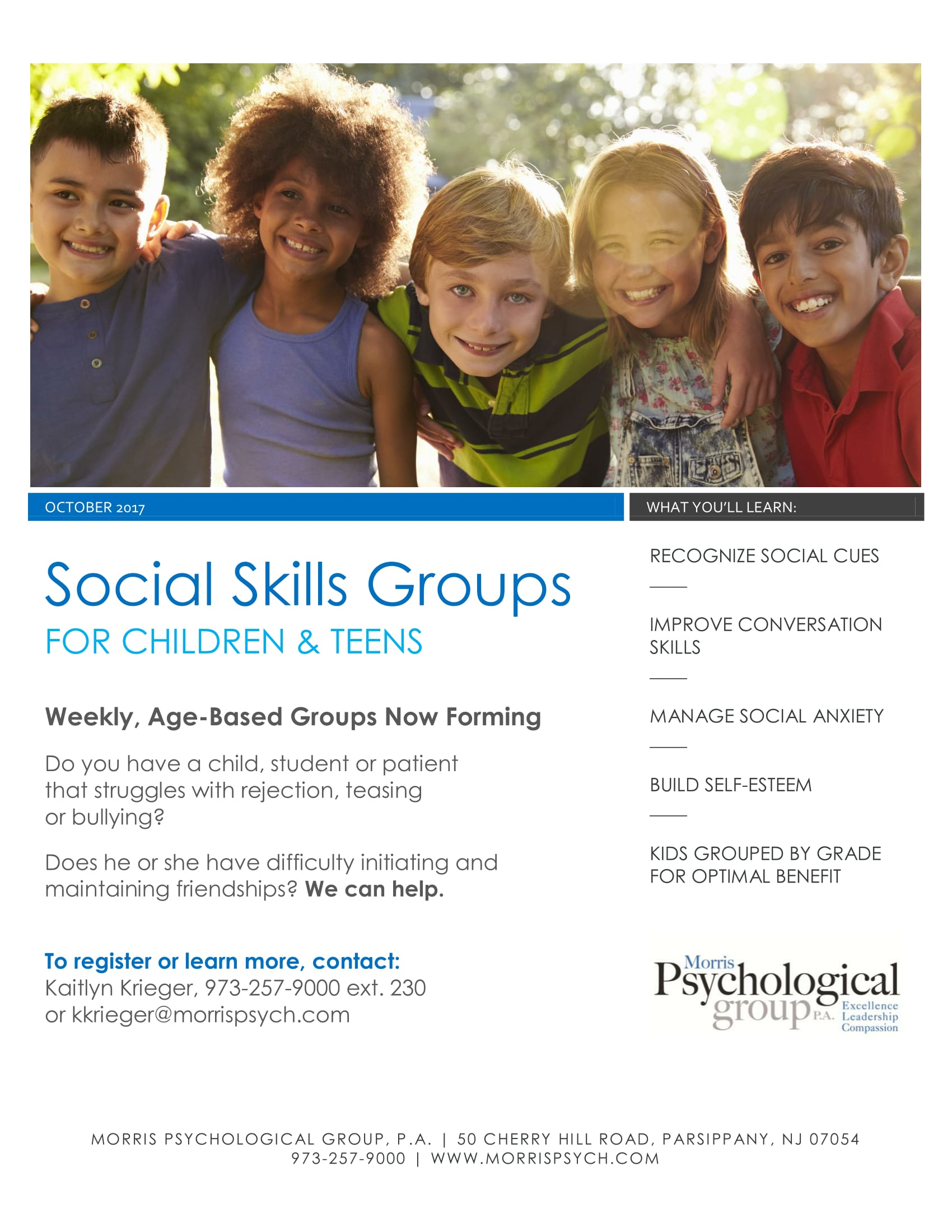 New Social Skills Groups For Children And Teens Are Now