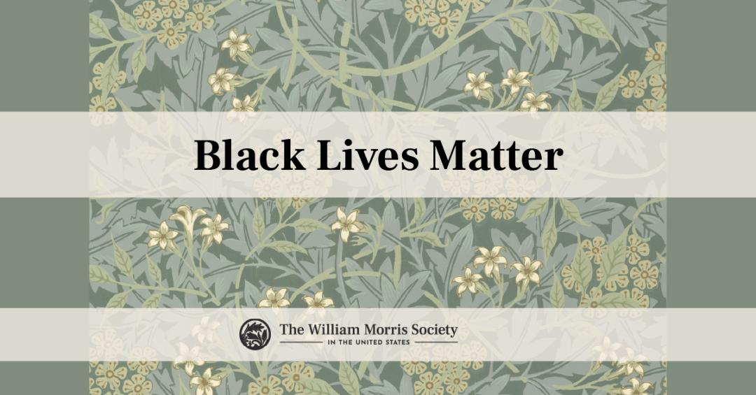 WMS_US Black Lives Matter banner. 'Black Lives Matter' text and WMS-US logo over background of Morris 'Jasmine' wallpaper.