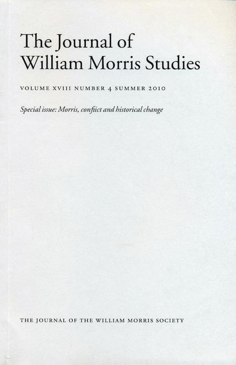 Cover of the Journal of William Morris Studies, vol. 18 issue 4