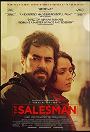 The Salesman film poster, features a man and a woman from the waist up.