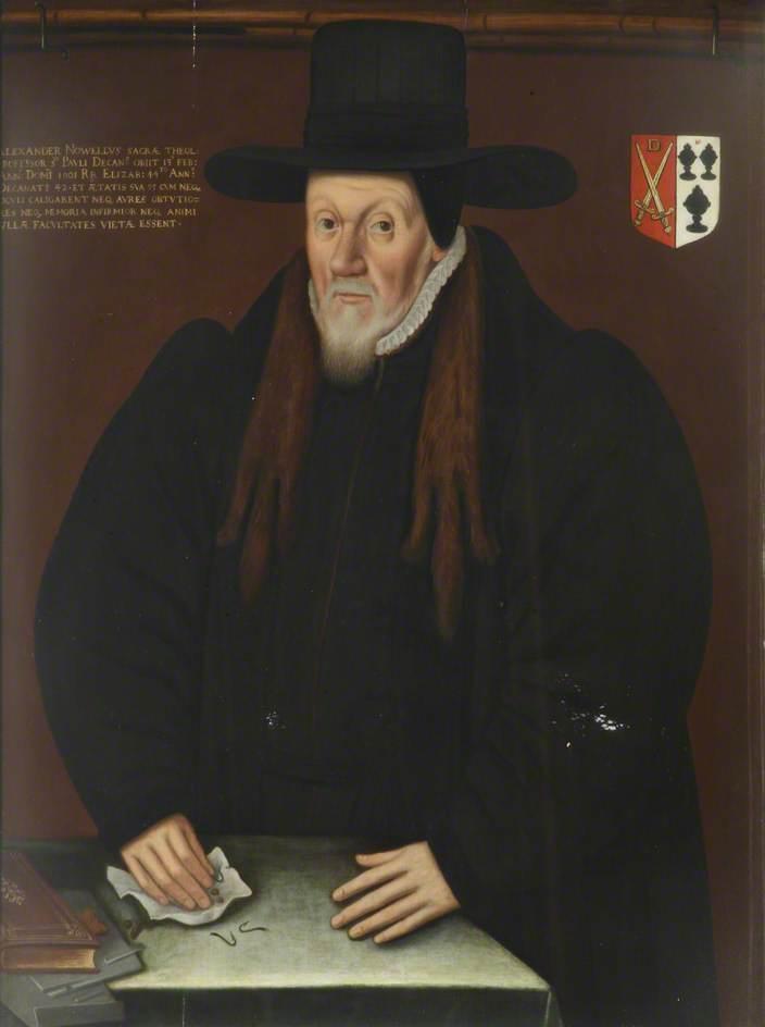 unknown artist; Alexander Nowell, DD, Benefactor, Principal (1595), Dean of St Paul's; Brasenose College, University of Oxford; http://www.artuk.org/artworks/alexander-nowell-dd-benefactor-principal-1595-dean-of-st-pauls-221739