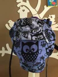 Natibaby Classic Owls 2, Dylon Ocean blue, full buckle kleuter, smallere heupband, normale schouderbanden, recht slaapkapje, sterren voor X-boxen)