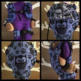 Natibaby Classic Owls, Dylon Ocean blue, full buckle kleuter, smallere heupband, normale schouderbanden, recht slaapkapje, sterren voor X-boxen)