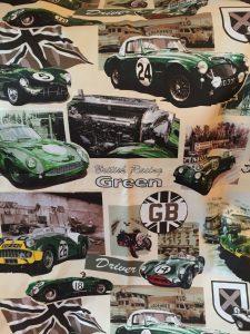 Britse raceauto's decoratiestof (rugpand)