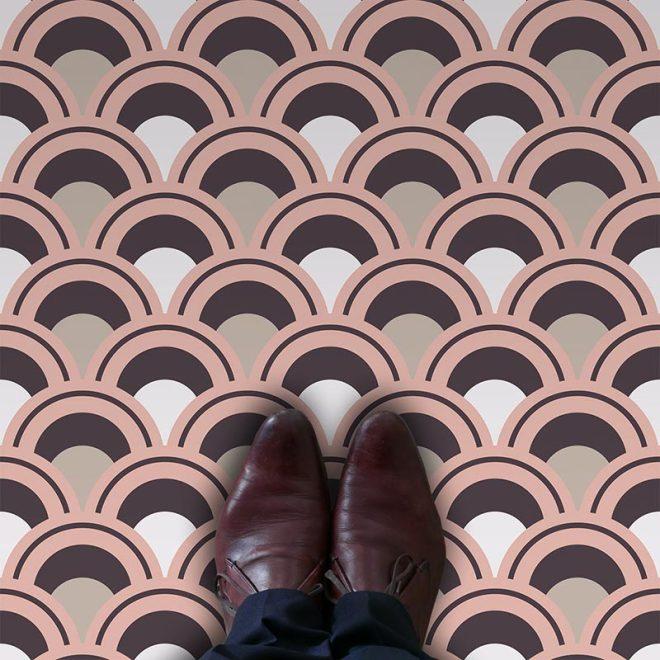 Arch fish scale geometric vinyl flooring pattern exclusive to forthefloorandmore.com