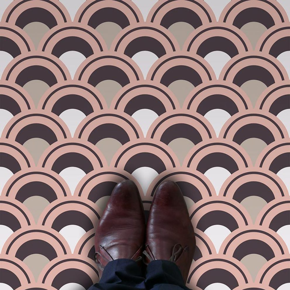 Arch fish scale geometric vinyl flooring pattern exclusive to forthefloorandmore.com
