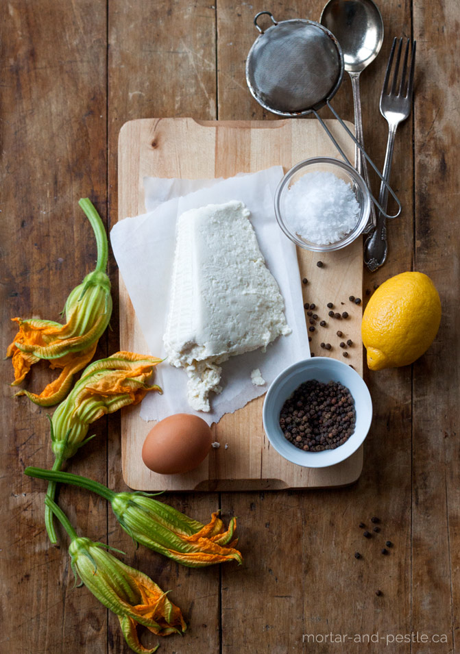 Fresh ricotta cheese - great for stuffed zucchini flowers.