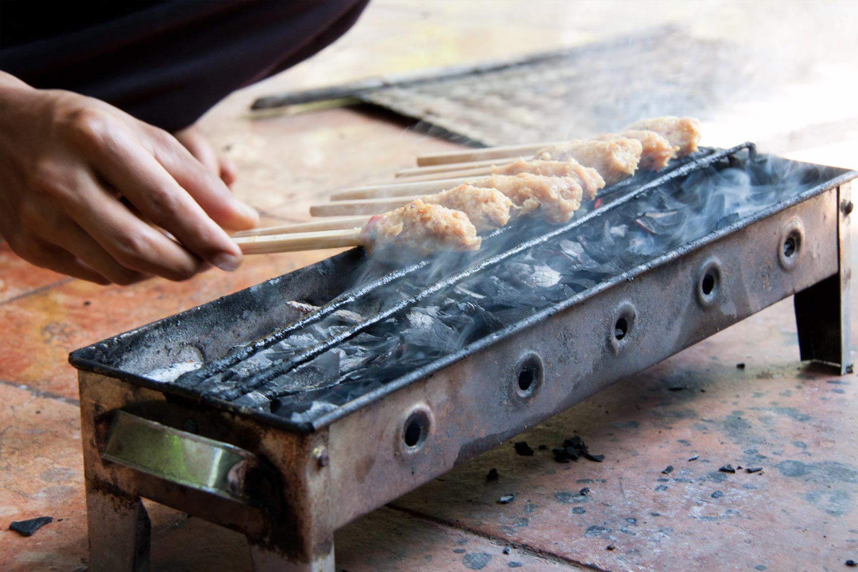 Chicken Satay is always prepared for religious ceremonies, and traditionally prepared by men, as its shape is symbolic of war. #Bali