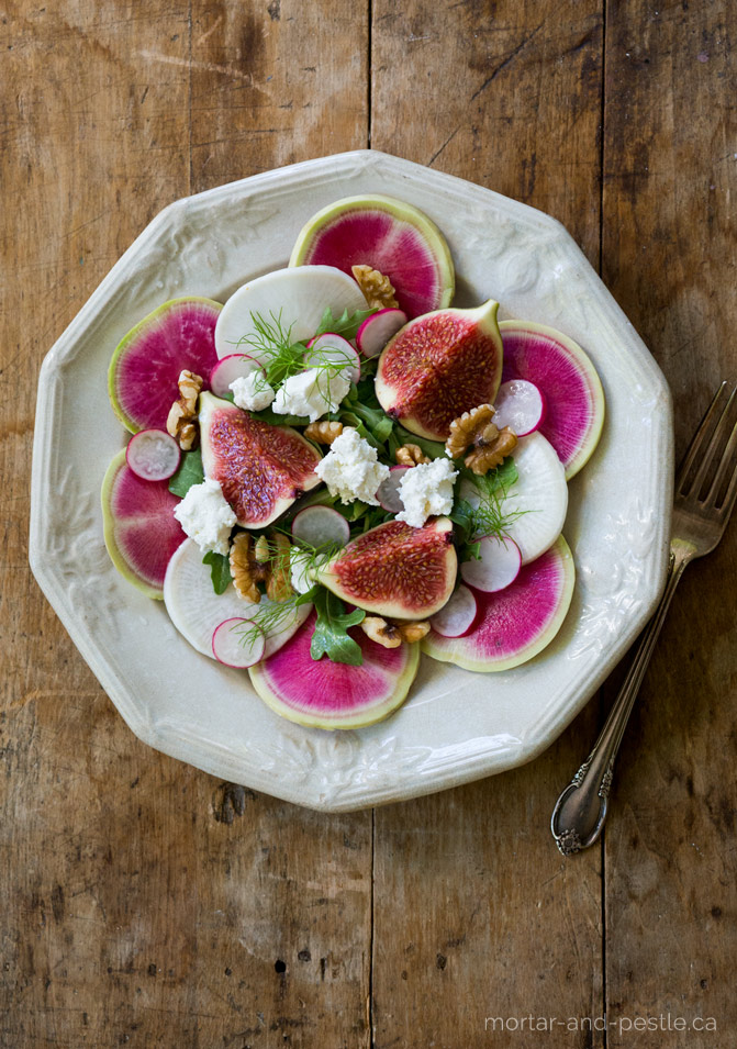 Rainbow radish salad with figs.