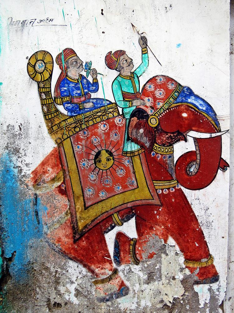 Wandbild in Bundi, Rajasthan