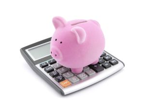 piggy bank and a calculator