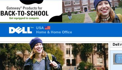 Dell and Gateway use the same stock photography model for competing ads