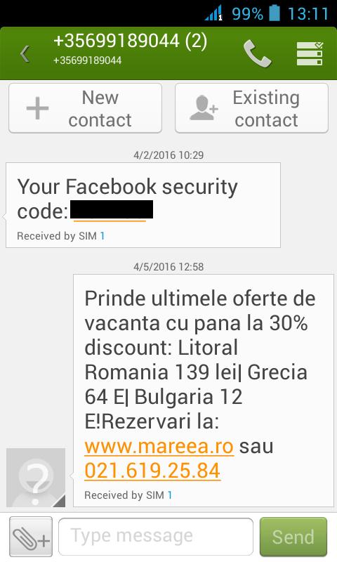 facebook sms spam