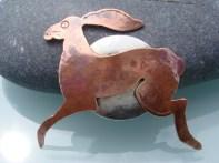 Silver Sea: copper hare brooch
