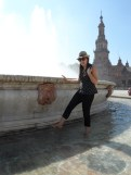 Cooling off in the Plaza de Espana fountain