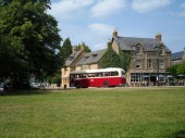Vintage buses run between the villages in the Cotswolds