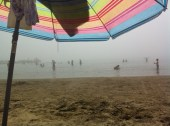 The sea mist that crept over the beach!