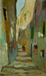 Michalis Oikonomou Street in old Marseilles 1920-25 Oil on cardboard Bank of Greece Art Collection