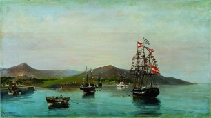 Konstantinos Volanakis Flag-decked ships 1889-93 Oil on canvas Bank of Greece Art Collection