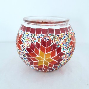 Bougeoirs mosaïques artisanales