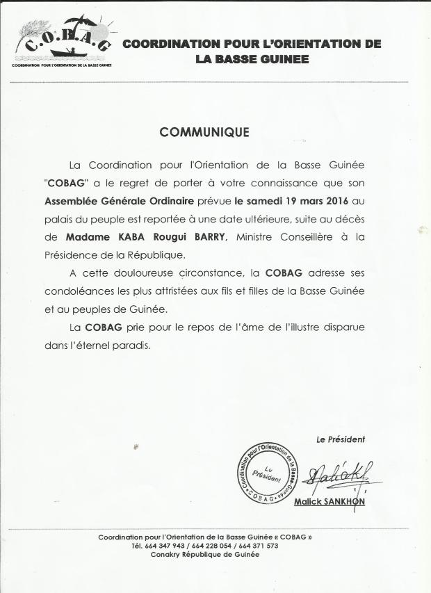 COMMUNIQUE  DE  LA  COBAG
