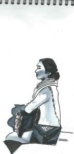 Apprendre à dessiner au Louvre , jeune femme touriste