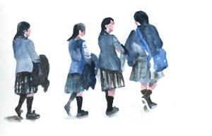 Apprendre à dessiner au Louvre croquis aquarelle d'écolières touristes