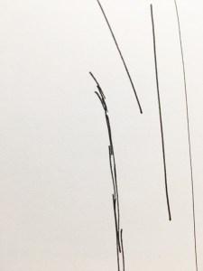 Traits avec stylo feutre fin. Matériel minimaliste