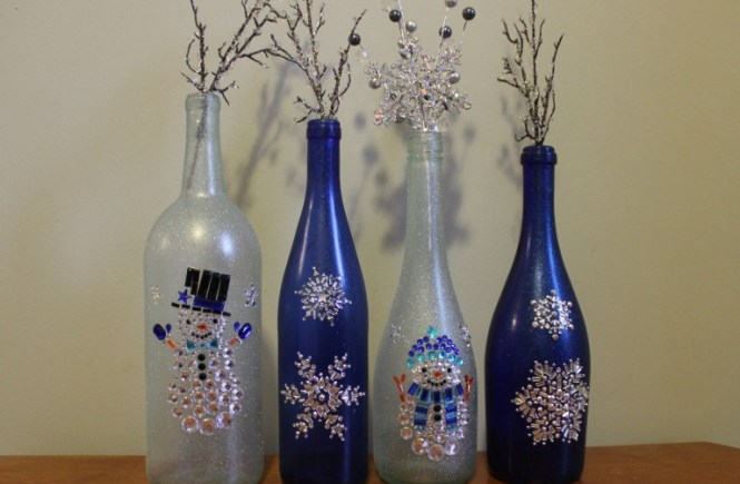 winter wine bottles decorations