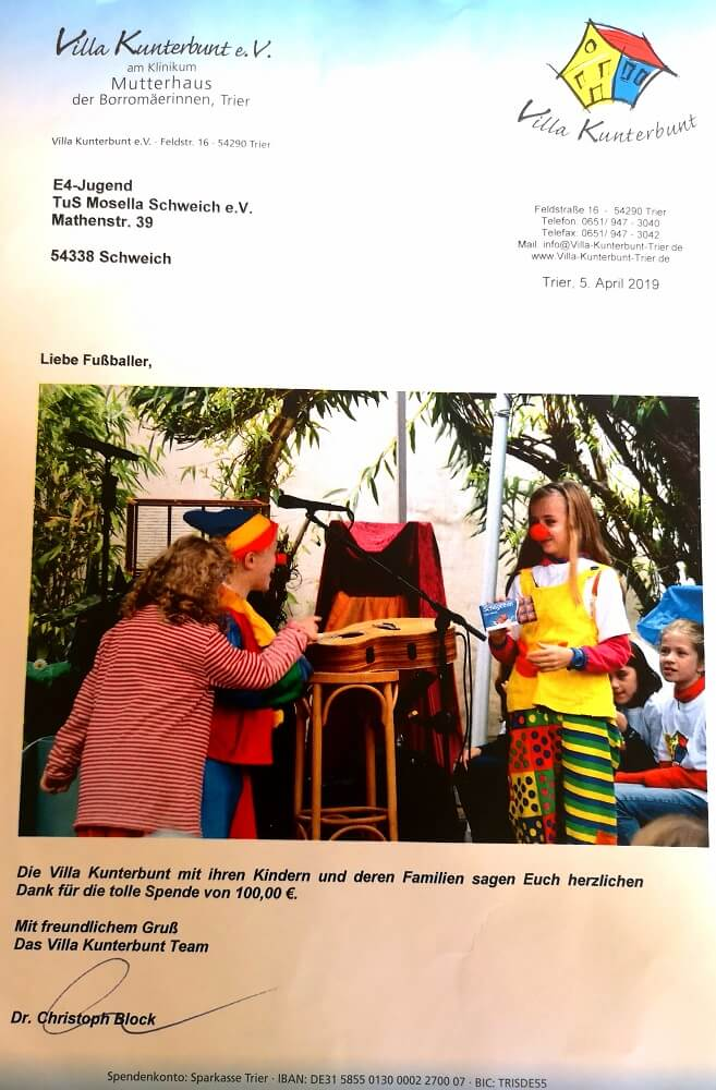 E4-Junioren Anschreiben Villa Kunterbund
