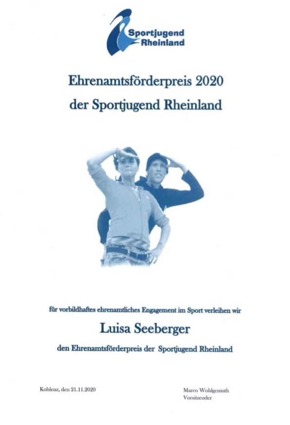 Ehrenamtsförderpreis 2020 für Luisa Seeberger