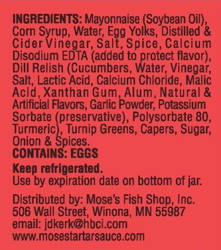 Mose's Fish Shop Tartar Sauce Ingredients
