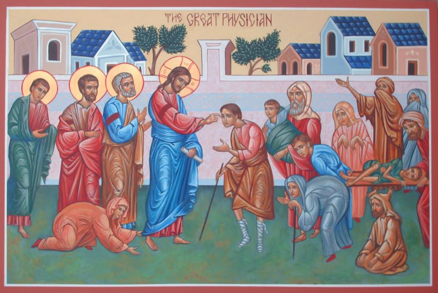 Jesus healing the sick and infirm.