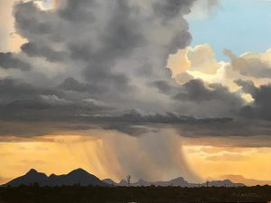 Oil landscape of monsoon storm by artist Rob Macintosh