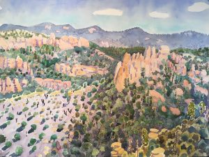 Watercolor landscape view from Windy Point by artist Rick DeMont