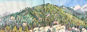 Watercolor diptych of Boboquivari mountains by artist Rick DeMont