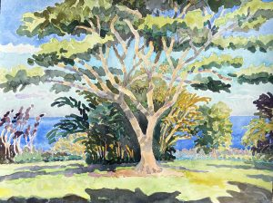 Watercolor landscape with large tree by artist Rick DeMont