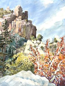 Watercolor of Bear Canyon with sycamore tree by artist Rick DeMont