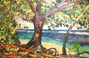 Watercolor Landscape of tropical beach with large tree by artist Rick DeMont