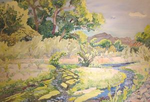Watercolor Landscape of Patagonia with stream by artist Rick DeMont