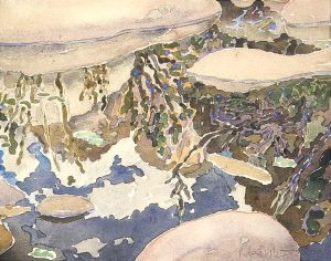 Watercolor Landscape of reflections in a rock pool by artist Rick DeMont